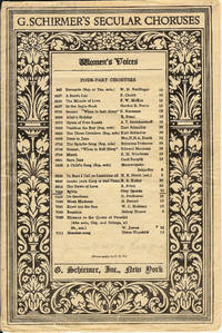 G. Schirmer's Secular Choruses  : Sylvia (7008) for Chorus of Women's Voices by Clinton Scollard / Oley Speaks  - Paperback  - First Edition  - 1922  - from Squirrel Away Books (SKU: 013055)
