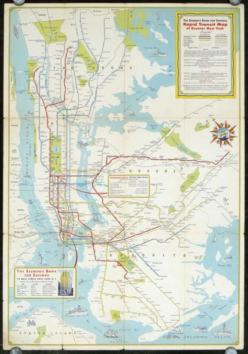 Map Of Greater New York City.New York City Rapid Transit Lines Principal Auto Routes Map Title The Seamen S Bank For Savings Rapid Transit Map Of Greater New York By New