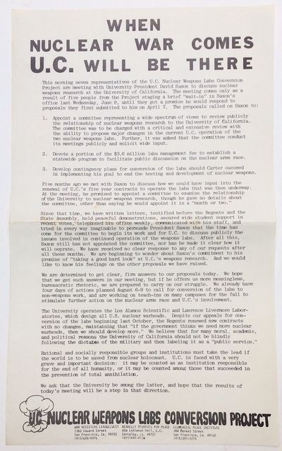 : UC Nuclear Weapons Labs Conversion Project, 1982. 8.5x14 inch handbill, creased, otherwise very go...