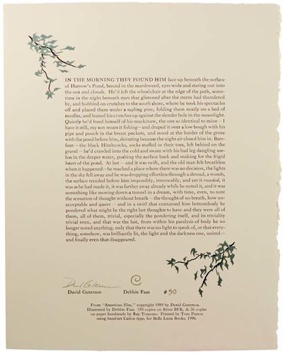 Denver: Bella Luna Books, 1996. First edition. One of 350 numbered copies. Attractive broadside whic...