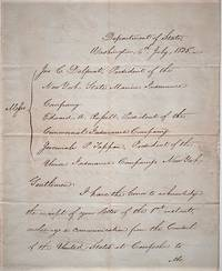 """HANDWRITTEN LETTER FROM THE SECRETARY OF STATE TO THE PRESIDENTS OF THREE INSURANCE COMPANIES, REGARDING SEIZURE OF THE BRIG """"OPHIR"""" AT CAMPECHE, MEXICO [ON MAY 1, 1835]:; Written less than eight months before the Battle of the Alamo"""