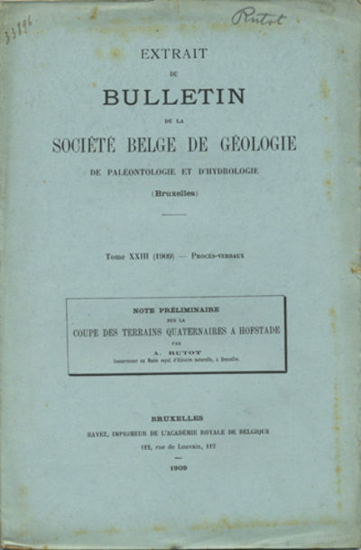 Bruxelles: Hayez, Imprimeur, 1909. Offprint. Stapled paper wrappers. A very good copy with soiling o...