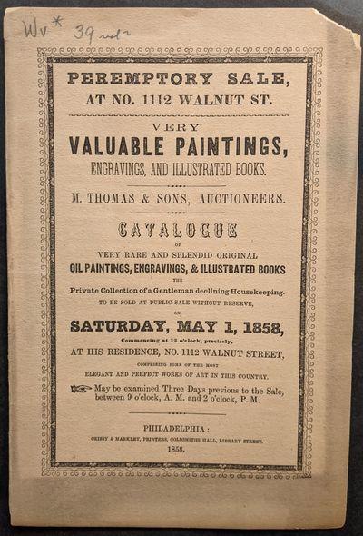 Philadelphia: Crissy & Markley, Printers, 1858. Large 8vo. 245 x 165 mm., . 8 pp. Orig. printed wr...