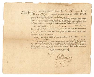 1789. New York, May 4, 1789.. New York, May 4, 1789. Eighteenth-Century New York City Tavern License...