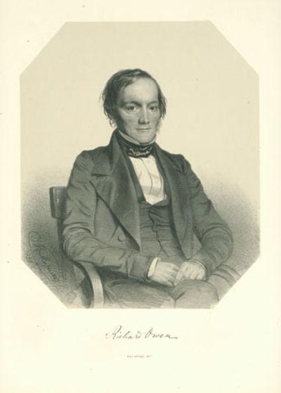 Owen, Richard (1804-92). Lithograph portrait with facsimile signature, by Thomas Herbert Maguire (18...