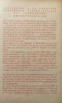 image of Invitation a la Premiere Conference Internationale du Surréalisme Révolutionnaire