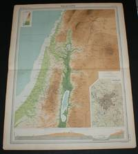 """image of Map of """"Palestine"""" with plan of Jerusalem from the 1920 Times Survey Atlas (Plate 52) including Jerusalem, Damascus, Beersheba, the Dead Sea and the Sea of Galilee"""