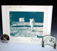 Official NASA Photograph of Buzz Aldrin on the Moon's Surface Signed By All Three Astronatuts of Apollo 11, with Official Patch, and  U.S. Consul Gordon Bell's role in Their Visit to Australia, 1969