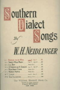 SOUTHERN DIALECT SONGS-ROCKIN IN DE WIND-ROCKING IN THE WIND PIANO SHEET  MUSIC