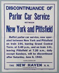 New Haven Railroad 1942 Broadside / Buffet Parlor Car Service