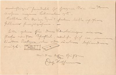 Hoffmann draws two sketches to explain his instructions to Wilhelm Jonasch (1892-1961) artist and de...