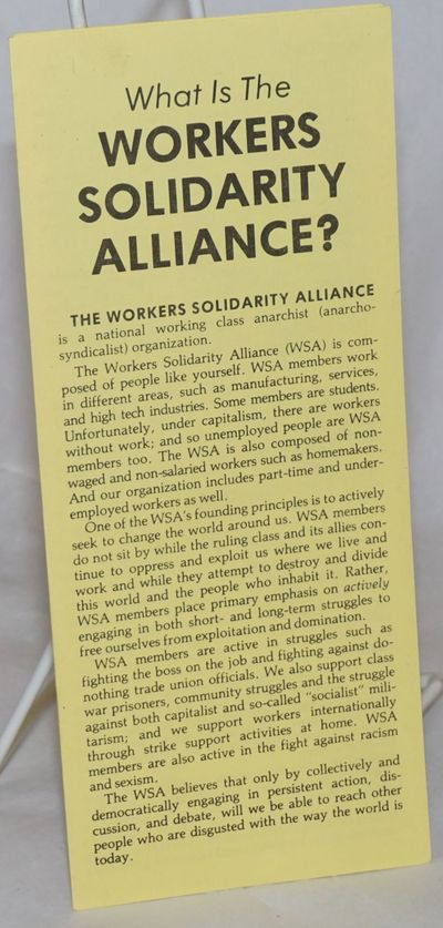 Charelston, WV: Workers Solidarity Alliance, 1989. Six panel brochure, 3.25x8.5 inches, very good co...