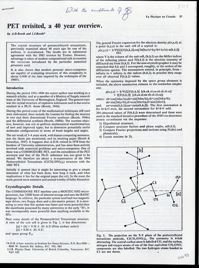 1984. Booth, Andrew Donald and Booth, Ian J. PET revisited, a 40 year overview. Offprint from Physic...