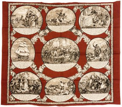 Textile , Fabric images printed from copperplate, with maroon body color printed by woodblock. Occas...