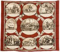 JACQUES' ADVENTURES AT SEA: A RARE PRINTED TEXTILE FROM 19TH-CENTURY FRANCE  [Maritime Story of Jacques Va-de-Bon-Coeur].