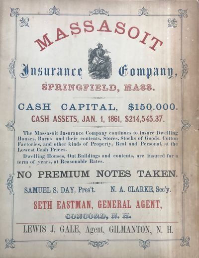 NP: np, 1861. Advertisement broadside, printed on stiff card stock, in red, blue and black, in vario...