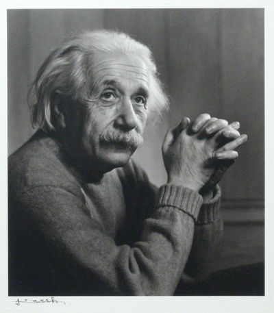 Princeton, NJ: np, 1948. framed. Fine. ONE OF THE MOST CELEBRATED IMAGES OF EINSTEIN, SIGNED BY MAST...