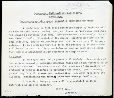 1949. University Mathematical Laboratory, Cambridge. Conference on high speed automatic computing ma...