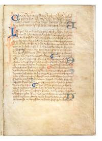 Decorated manuscript on vellum, in Anglo-Norman French, of Walter of Henley's Hosbondrye, seven leaves (lacking the final leaf).  Small 4to (198 x 140 mm.), single column, 29 lines (text block: 128 x 90 mm.), text written throughout in one hand in Anglicana, 24 initials in blue with pen flourishing in red, oftentimes with seven- or eight-line extensions in margins, chapter divisions in red & blue