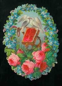 Corona di fiori con rose colombe e libro animato al for Piani di conservazione vittoriana