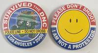 image of {Two pinback buttons related to protests t the 2000 Democratic National Convention in Los Angeles]