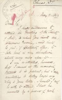 Autograph Letter Signed 'J.W. Natal' to the Society of Arts (John William, 1814-1883, Bishop of Natal from 1853) by COLENSO - from Sophie Dupre (SKU: 39183)