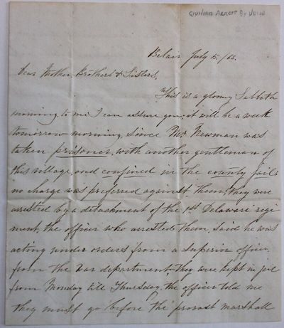 Belair, Maryland, 1863. Neat ink manuscript. 4pp on a sheet folded to 6-78