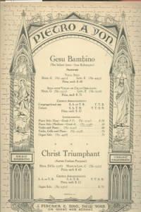 GESU BAMBINO THE INFANT JESUS-JESU REDEMPTOR PASTORALE PIANO SHEET MUSIC