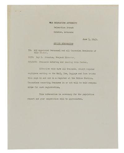 McGehee, AR: War Relocation Authority, 1943. Near Fine. Single-sided sheet. Near Fine with a little ...