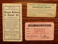 image of BANGOR RAILWAY AND ELECTRIC CO. TIME TABLE, MAINE CENTRAL RAILROAD PASS, EASTER AND MAINE CENTRAL RR NOTICE CARD - LOT OF 3 ITEMS