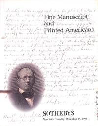 Sale 7240/Auction 15 December 1998 : Fine Manuscript And Printed Americana