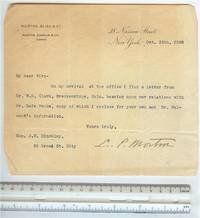 image of Signed Letter Autograph by Morton, Levi; 1898, Politician and helped refinance US National Debt!