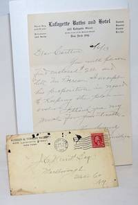 [Handwritten note to Carlton Merritt on stationary of the Lafayette Baths and Hotel]
