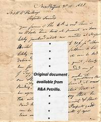 HANDWRITTEN LETTER (ALS) REGARDING WHALING EQUIPMENT, WHERE TO PURCHASE, ETC., TO N. & W.W. BILLINGS, NEW LONDON [CT], DATELINED:  NEW BEDFORD, 2 MO.11.1828