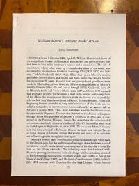 [INCUNABULA REFERENCE]. William Morris's 'Ancient Books' at Sale (offprint from: Under the...