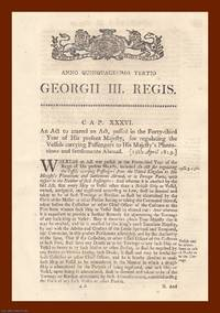 PASSENGER VESSEL ACTS, 1813-1827. An interesting selection of 7 original Acts of Parliament