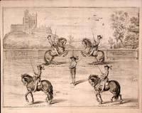 La Maison de monsignieur Le maquis apellée Bolsouer en la Province de Darby. Monsignieur le marquis a Cheval Le Capitainne a pie