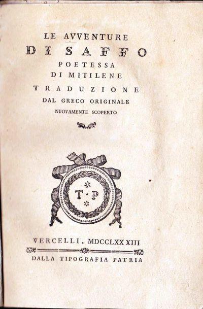 Vercelli: Tipografia Patria, 1783. Very Good/Historical novel by the theorist of Italian enlightenme...