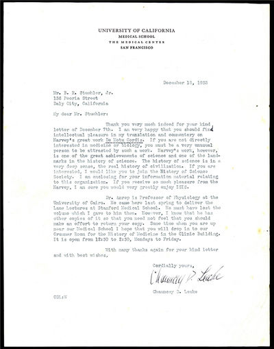 San Francisco, 1935. Leake, Chauncey D. (1896-1978). Typed letter signed to Berthold Richard Stuehle...