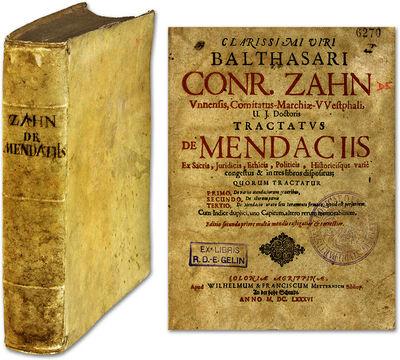 1686. Liar! Zahn, Balthasar Conrad . Tractatus De Mendaciis Ex Sacris, Juridicis, Ethicis, Politicis...