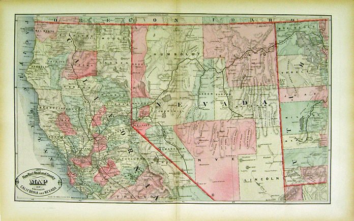 New Rail Road and County Map of Northern California and Nevada by George F Cr