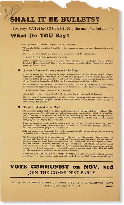 New York: National Campaign Committee of the Communist Party, . Broadside, 12-1/2