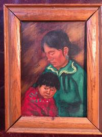 Original Mohawk Artist Albert White Oil Painting 5 x 7 Navajo Mother and Child Signed