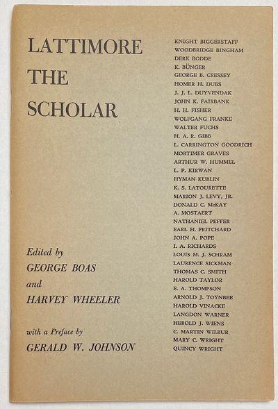 Baltimore, MD: Harvey Wheeler, 1953. 61p., staplebound pamphlet, mild toning, otherwise very good. D...