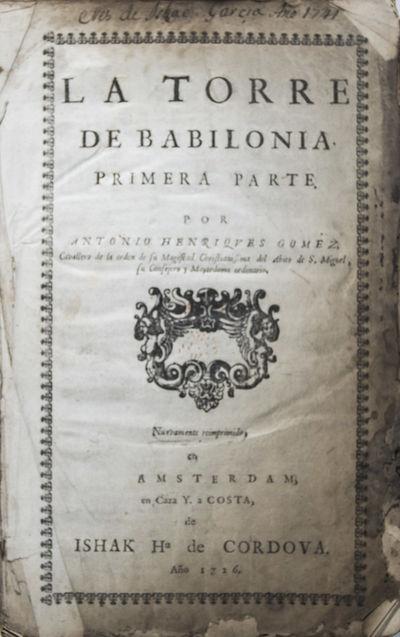 Amsterdam: Ishak de Cordova (Yshak de Cordova), 1726. Nuevamente Reimprimido