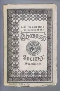 Publications of the Thoresby Society, 1919 Vol. XXVI (26) Part I, Miscellanea