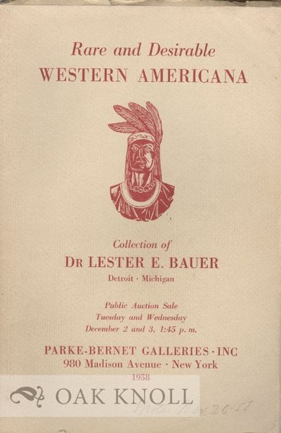 New York: Parke-Bernet, 1958. paper wrappers. Americana. 8vo. paper wrappers. (x), 137 pages. With a...