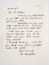 Autograph John Masefield's Letter to Llewellyn Pridham, author of the book 'The Dorset...