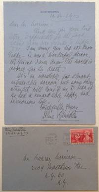 Autographed Letter Signed on personal stationery by  Aline (1880 - 1955) BERNSTEIN - Signed - 1949 - from Argosy Book Store and Biblio.com