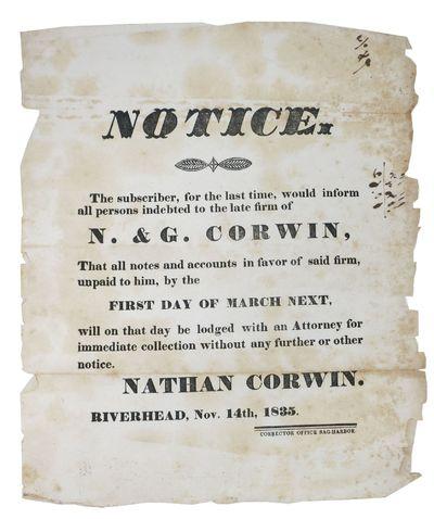 Sag-Harbor : Corrector Office, 1835. 1st Printing. Now housed in an archival mylar sleeve. Edge-wear...